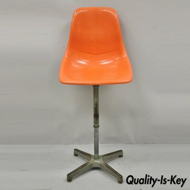 Mid Century Ajustrite Orange Fiberglass Shell Eames Style Adjustable Chair Stool