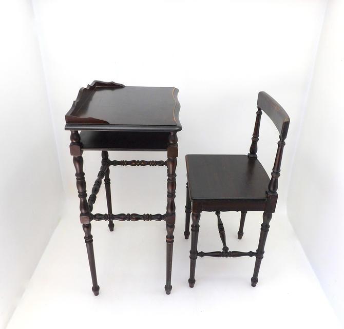 1800's Antique Child's School Desk & Chair Set Mahogany Turned Figural Legs Country Farmhouse Petite Classroom Decor by MakingMidCenturyMod