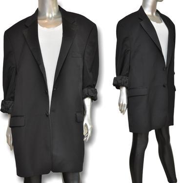 Vintage Ralph Lauren Womens Oversized Black  Tuxedo Blazer Loose Fit Boyfriend Jacket by TheUnapologeticSoul