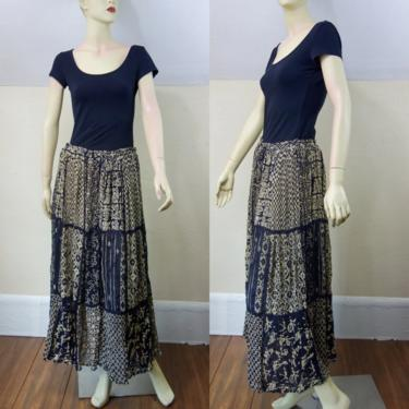 Vintage 90s cotton gauze ankle length broomstick skirt, free size adjustable waist long skirt semi sheer patchwork, one size fits many XL by forestfathers
