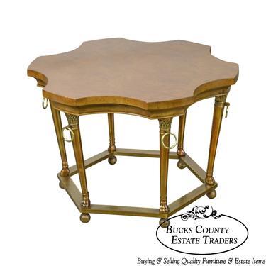 Mastercraft Burl Wood Brass Base Regency Style Side Table by BucksEstateTraders