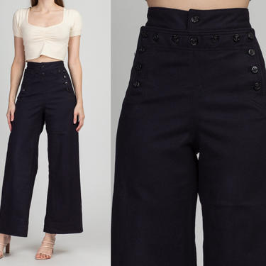 "1940s High Waist Unisex Navy Sailor Pants - 27"" Waist | Vintage 40s Dark Blue Wool Flared Anchor Button Uniform Trousers by FlyingAppleVintage"