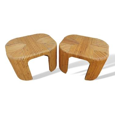 Pair of Vintage 1970s Palm Beach Split Reed Bamboo End Tables by VeronaVintageHome