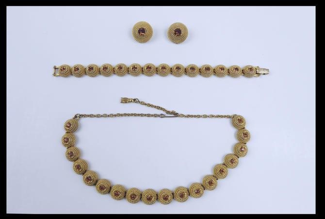 Vintage Goldtone Necklace Bracelet Earring Set   Choker   Rope Detail   Topaz by TheFeatheredCurator