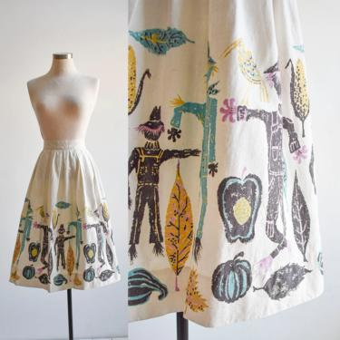 Mid Century Scarecrow Print Skirt by milkandice