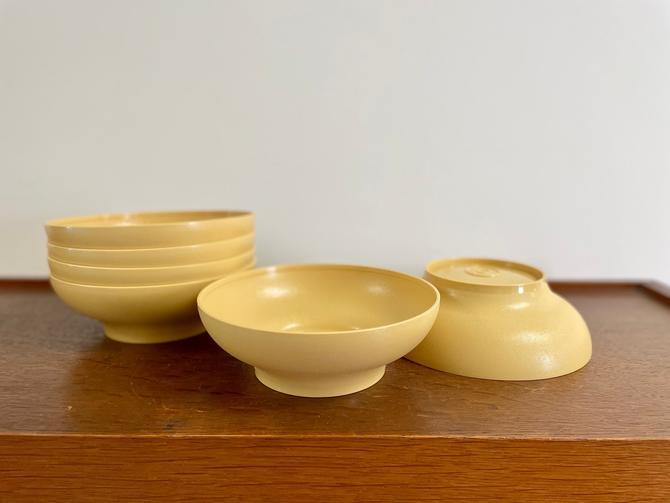 Set of 6- Vintage Harvest Gold Tupperware Cereal Bowls #890-24, Made in U.S.A, MCM Retro Kitchen by BlackcurrantPreserve