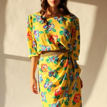 Vintage 80s Ungaro Solo Donna Yellow Floral Silk Two Piece Set | Made in Italy | DEADSTOCK | 1980s Designer Broad Shoulder Blouse and Skirt by TheVault1969