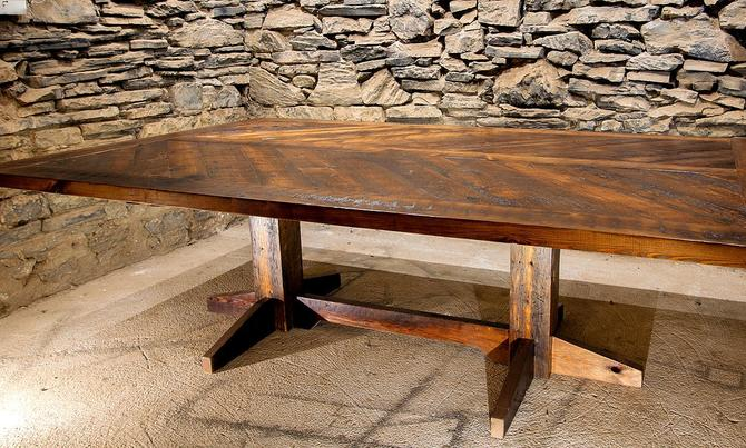 The Refectory - Reclaimed Wood Chevron Pattern Dining Table by BarnWoodFurniture