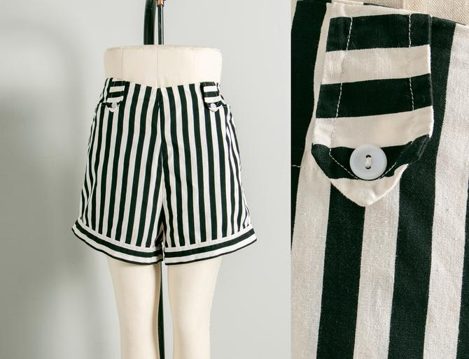 1950s Shorts Striped Cotton High Waist L by dejavintageboutique