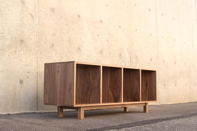 Warner Foyer Bench / LP Vinyl Storage, Modern Entry Storage, Mid Century Inspired, Record Bench (Shown in Walnut) by TomfooleryWood