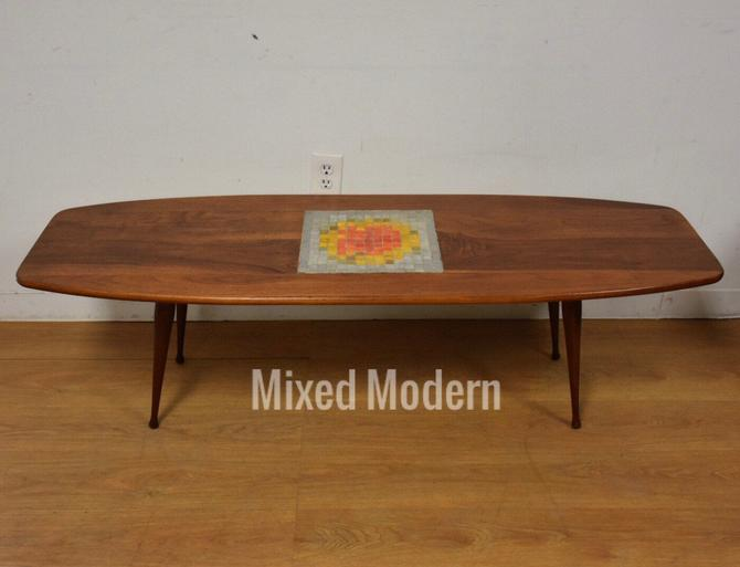 Walnut and Tile Modern Coffee Table by mixedmodern1