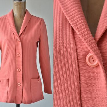 60s 70s Vintage CORAL PINK CARDIGAN Acrylic Knit Sweater, Long Sleeve Shawl Collar Front Patch Pockets Striped Rib Knit Cardigan Button Down by MOBIUSMOD