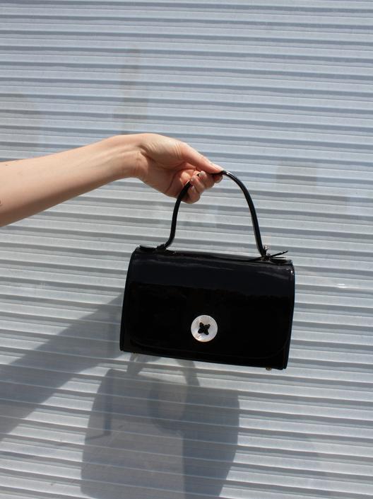 Button Patent Handbag