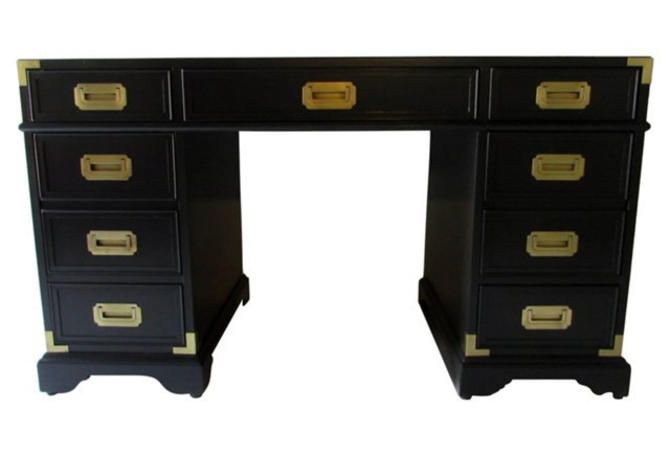 Campaign Desk finished in Black /Brass hardware /1 TO CUSTOMIZE TOO Please ask about availability by Dianemarieshome