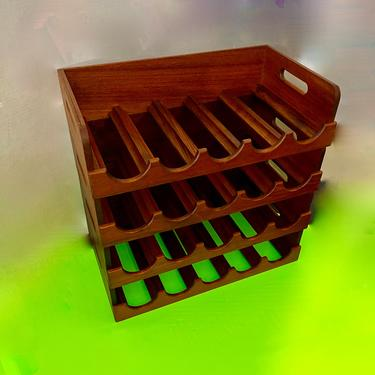 A Great Looking Vintage Four Tier Stacking Teak Wine Rack by modern2120