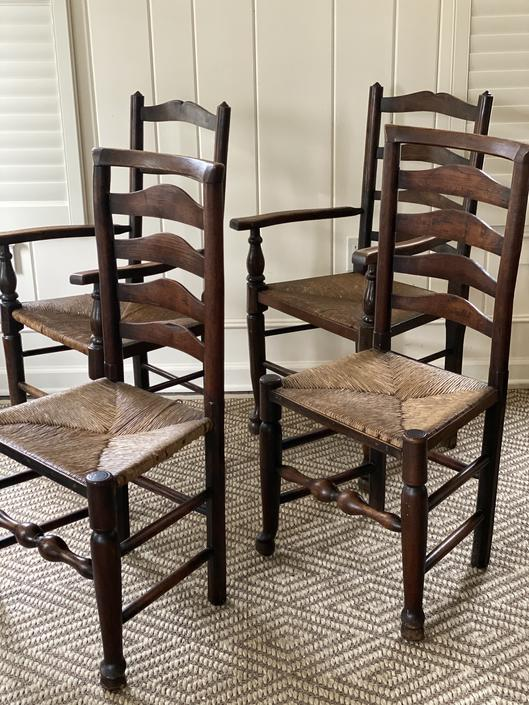 Antique English Ladder Back Chairs with Rush Seats, Set of 4