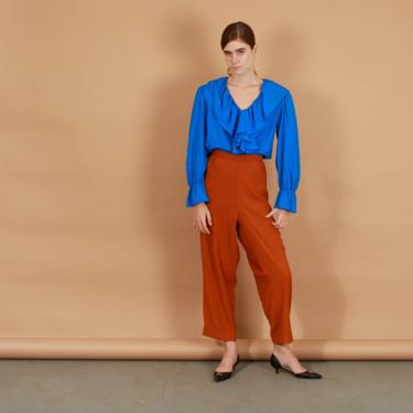 80s Caramel Brown Stretch Pants Vintage Straight Legged Trousers by AppleBranchesVintage