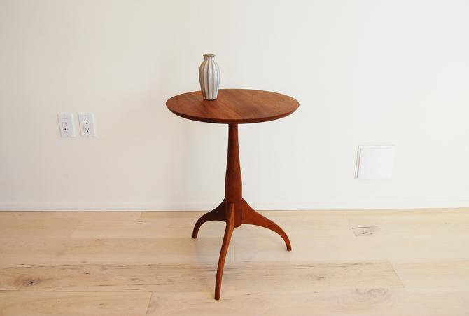 Vintage Shaker Wrokshops Custom Crafted Solid Cherry Round Side Table with Pedestal Base by MidCentury55