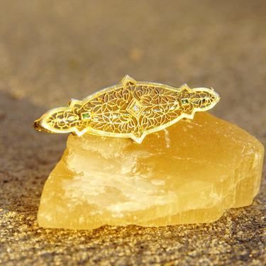 "Antique 10K Gold Filigree Diamond & Emerald Bar Pin, Ornate Yellow Gold Brooch, .03 CT Round Diamond, Accent Green Emerald Gemstone, 2"" L by shopGoodsVintage"