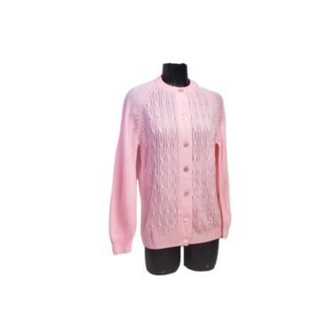 Vintage Woolworths Cardigan Sweater, 1970s Bubblegum Pink, 100% Acrylic, Preppy Woolco Stroller Button Front Sweater, NOS, Vintage Clothing by AGoGoVintage
