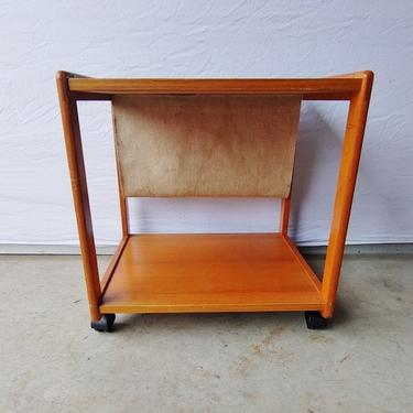 FBJ Møbler Danish Modern Teak Rolling Magazine Stand Side Table by ModandOzzie