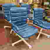 Vintage set of 4 blue vinyl arm chairs, c1990.