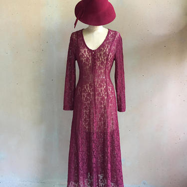 Vintage 80s Dark Cranberry Red Lace Dress w/ Corset Style Lace-up Back by LucileVintage