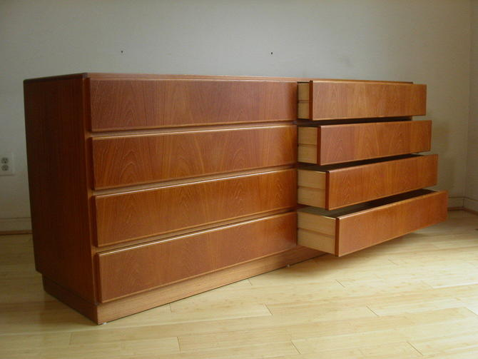 Teak Danish Modern 8 Drawer Dresser Credenza From Komfort - NEAR MINT