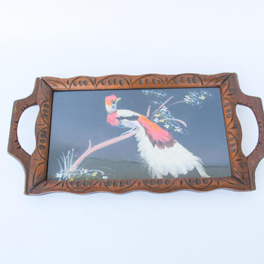 Mid-Century Modern Wood and Glass Framed Bird Feather Tray From Mexico by PortlandRevibe