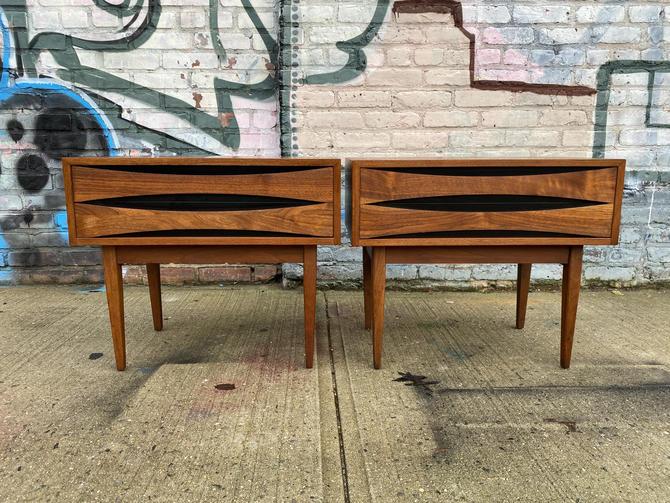 Vintage pair mid century modern Arne vodder style nightstands 1 drawer walnut and black clean by symmetrymodern