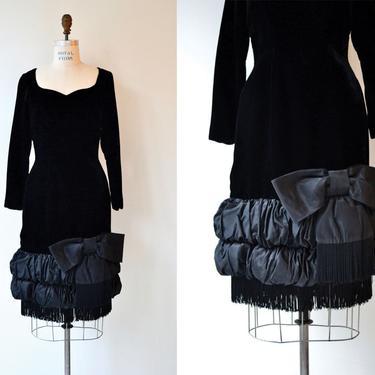 Soloist velvet dress   vintage 1960s dress   black velvet 60s dress by DEARGOLDEN
