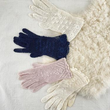 One Pair of Vintage Crochet Lace Gloves, Available in Light Pink, Navy Blue or Off-White by PebbleCreekGoods