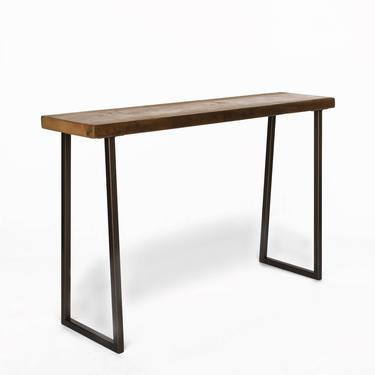 Console Table made with reclaimed wood and steel base.  Custom height, wood thickness, size and finish welcome. by UrbanWoodGoods