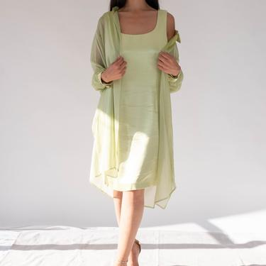Vintage 90s J.R. NITES Key Lime Satin Mini Sheath Dress w/ Sheer Tunic Blouse Set | Made in USA | 1990s Evening, Party, Cocktail Dress by TheVault1969