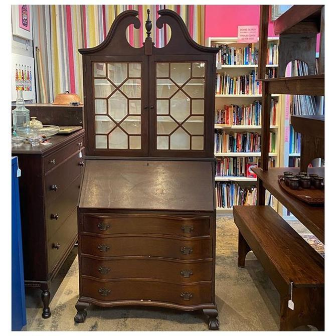 "Antique / Tall mahogany secretary desk 80"" tall / 35.5"" wide / 17"" deep"