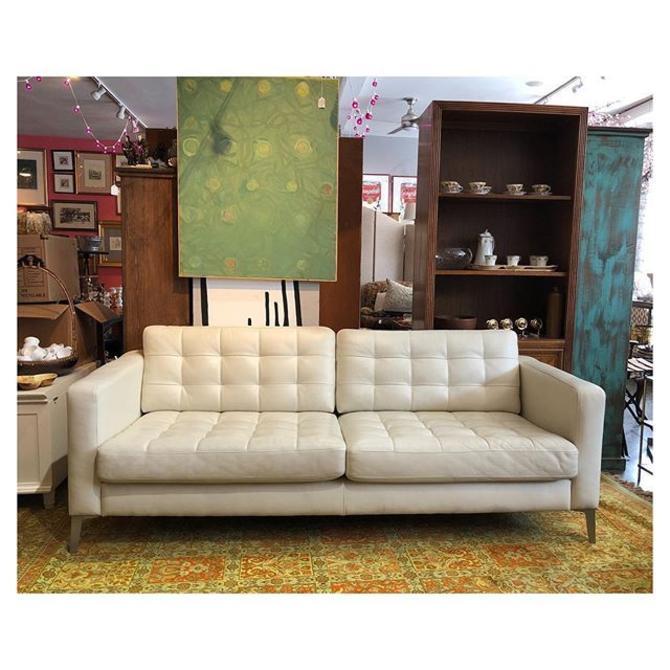 White leather sofa 80 L x 35 D x 35 H