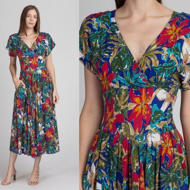 Vintage 90s Does 40s Floral Sundress - Small | Boho Grunge Short Sleeve Button Back Midi Dress by FlyingAppleVintage