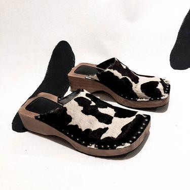 90s / Y2K / Cow Print Pony Hair Studded Wood Soled Clogs / Nine West / Mules / Chunky / Square Toe / Tacks / Size 7.5 / Slip On / Brown / by badatpettingcats