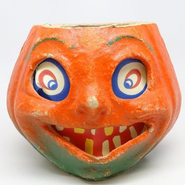 Vintage 1940's Halloween Smiling Jack-O-Lantern, made with Pulp Paper Mache, Antique Retro Decor JOL by exploremag