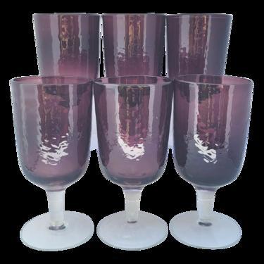 Pottery Barn Plum Purple Amethyst Water Goblet Stem Glasses- Set of 6