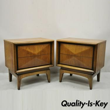 Mid Century Walnut Diamond Front Nightstands Bedside Tables by United - a Pair