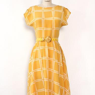 Marigold Grid Flare Dress S/M