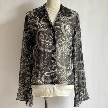 Black and White Paisley Flowy Blouse fits M - L Vintage Gloria Vanderbilt by BeggarsBanquet