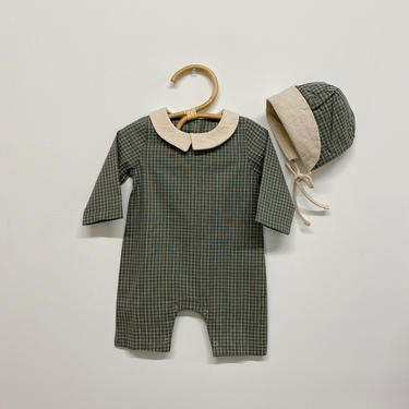 plaid romper with bonnet by HeyJanuary