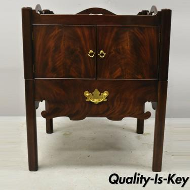Baker Furniture English Georgian Mahogany End Table Washstand Nightstand Cabinet
