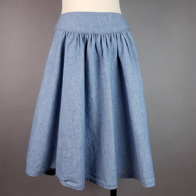 "90s High Waisted Denim Skirt Plus Size 12, Vintage Jean Skirt 34"" Waist A Line, Chambray Cotton Circle Skirt by SlimeWarpVintage"