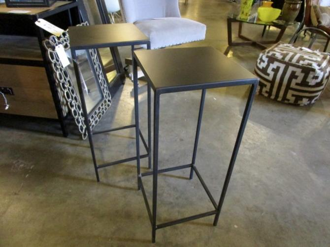 PAIR OF ROOM AND BOARD IRON PEDESTAL TABLES