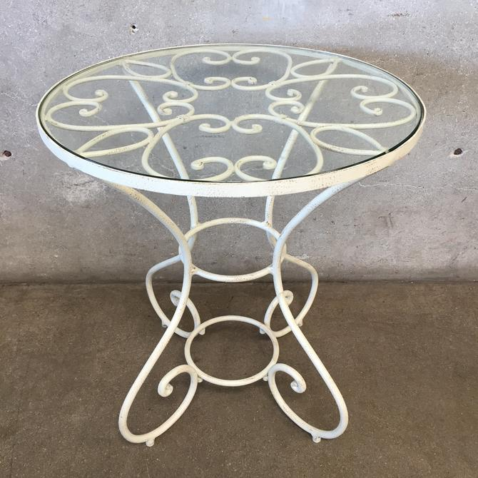 Wrought Iron Side Table with Glass Top