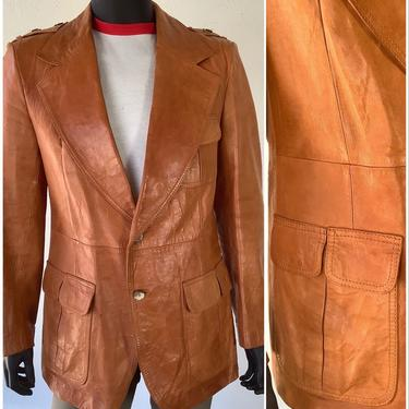 70s Vtg Brown Leather Sport Jacket / Western / Scotts Grey Ltd Tan Leather Sport Coat / Size 44 Chest / XL by AmericanDrifter