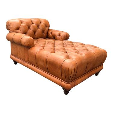 Original French Tufted Leather Chaise.